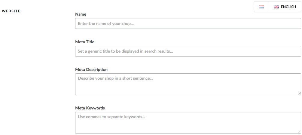 Displays the General Setting screen where you enter SEO details about your eCom store