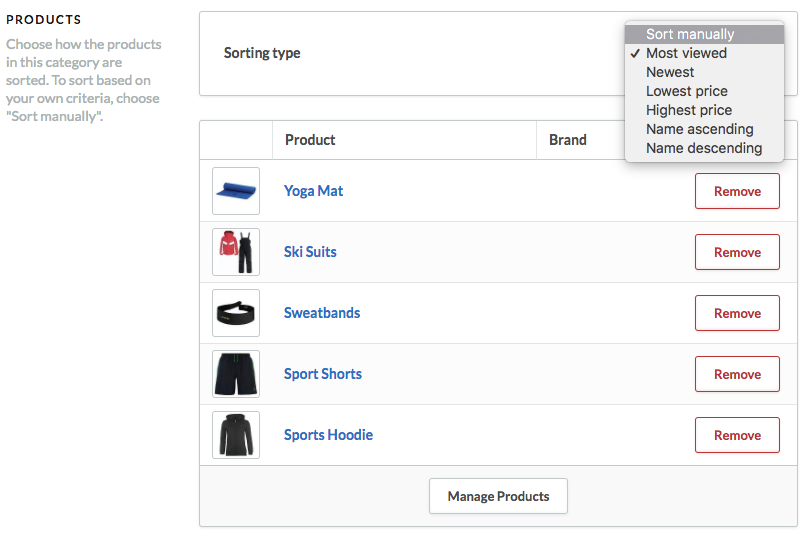 Shows the categories section on the product screen