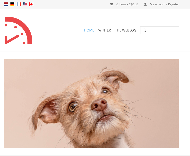 Shows the dog image uploaded as a headline on an eCom store.
