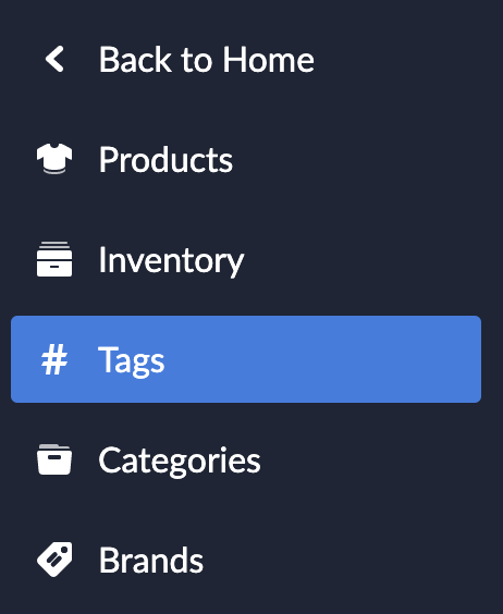 Shows what the sidebar looks like when in the Tags settings.