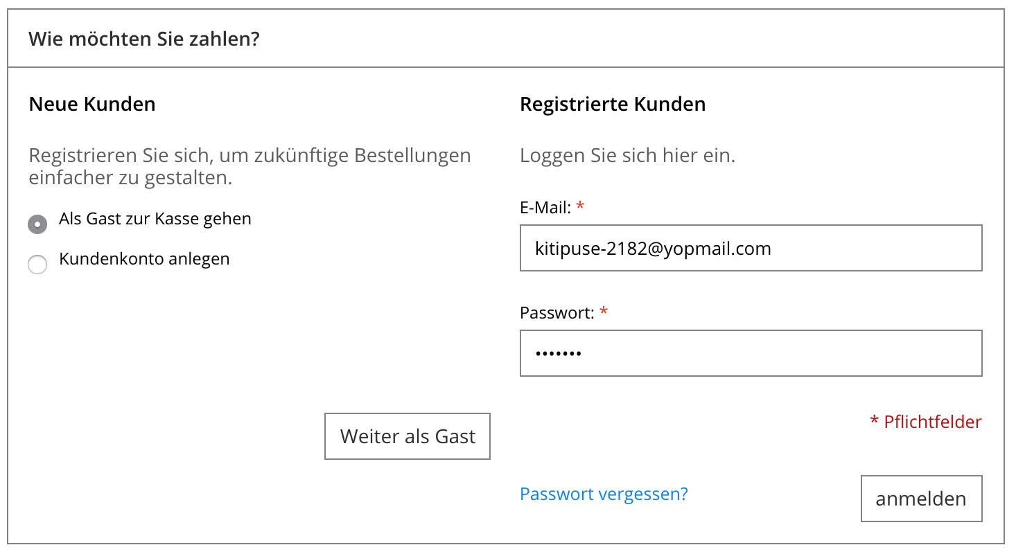 Zeigt die Optionen für registrierte Anmeldungen oder Gast-Checkout an.