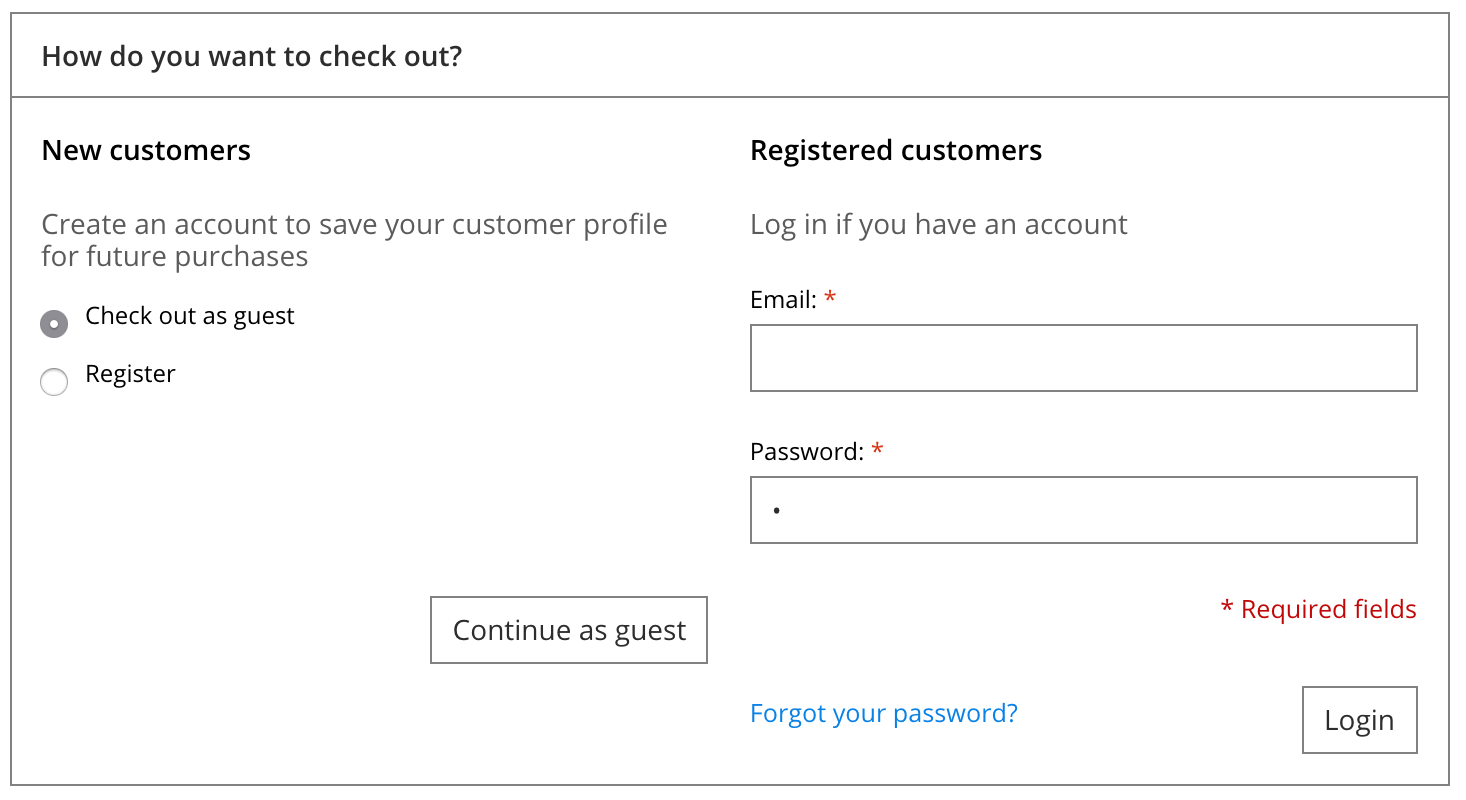 Shows the registered login or guest checkout options.