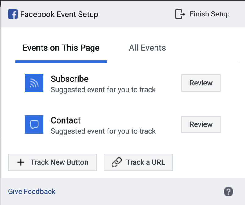 Shows the Facebook event setup overlay.