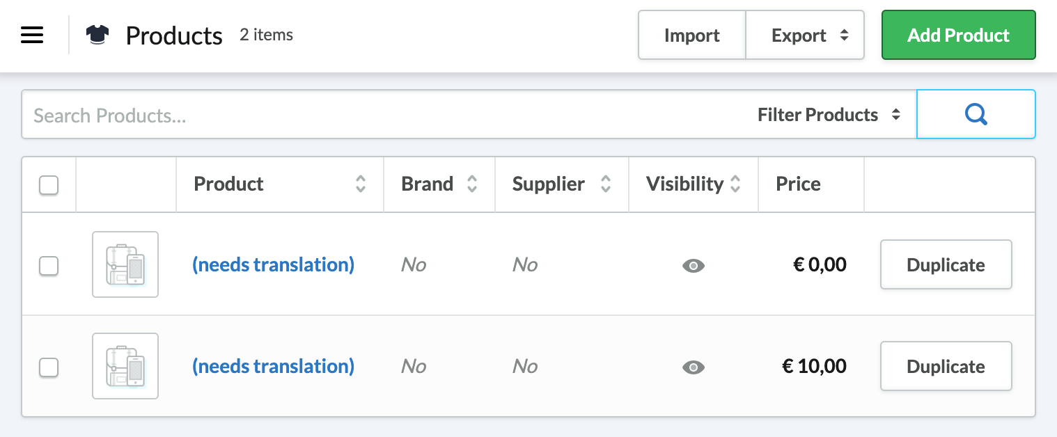 Shows the product titles changed to the words needs translation
