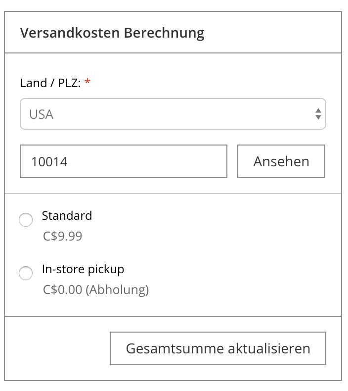 Zeigt die Funktion Versandrechner auf der Warenkorbseite an.