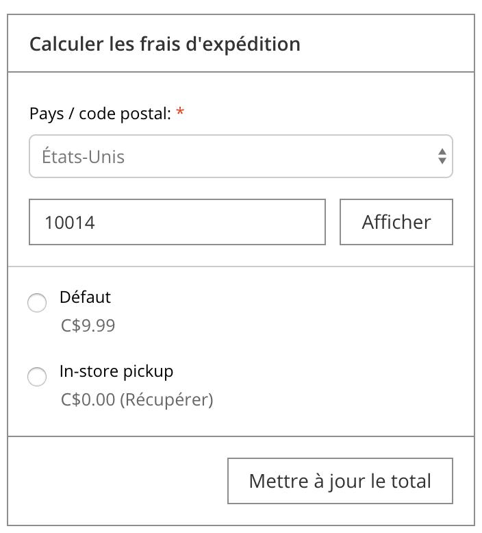 Affiche la calculatrice de frais d'expédition sur la page du panier.