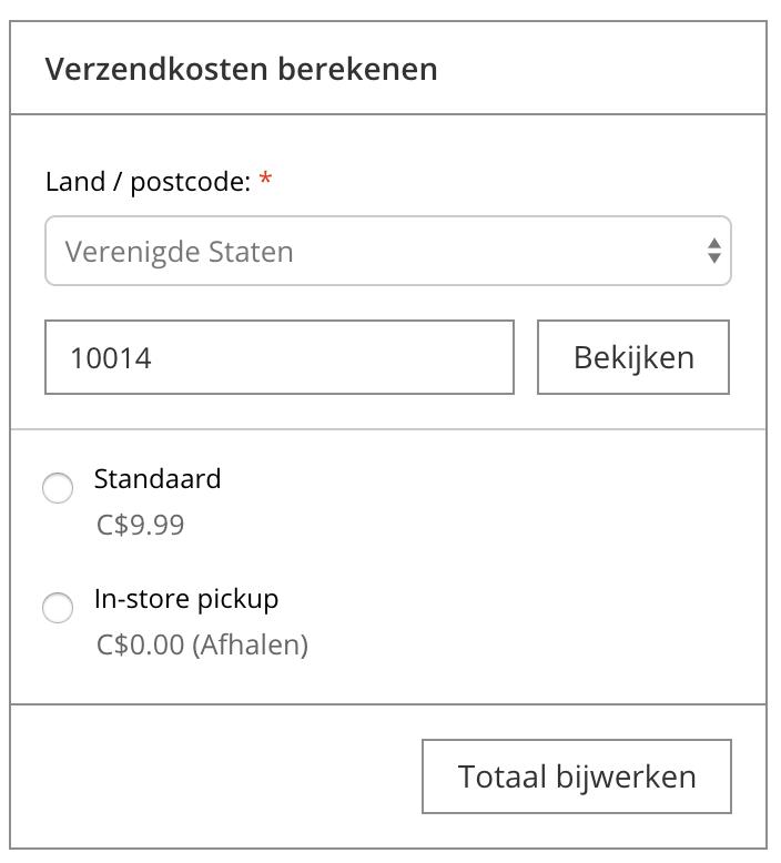 Weergeeft de calculatorfunctie voor de verzendkosten op de pagina van de winkelwagen.