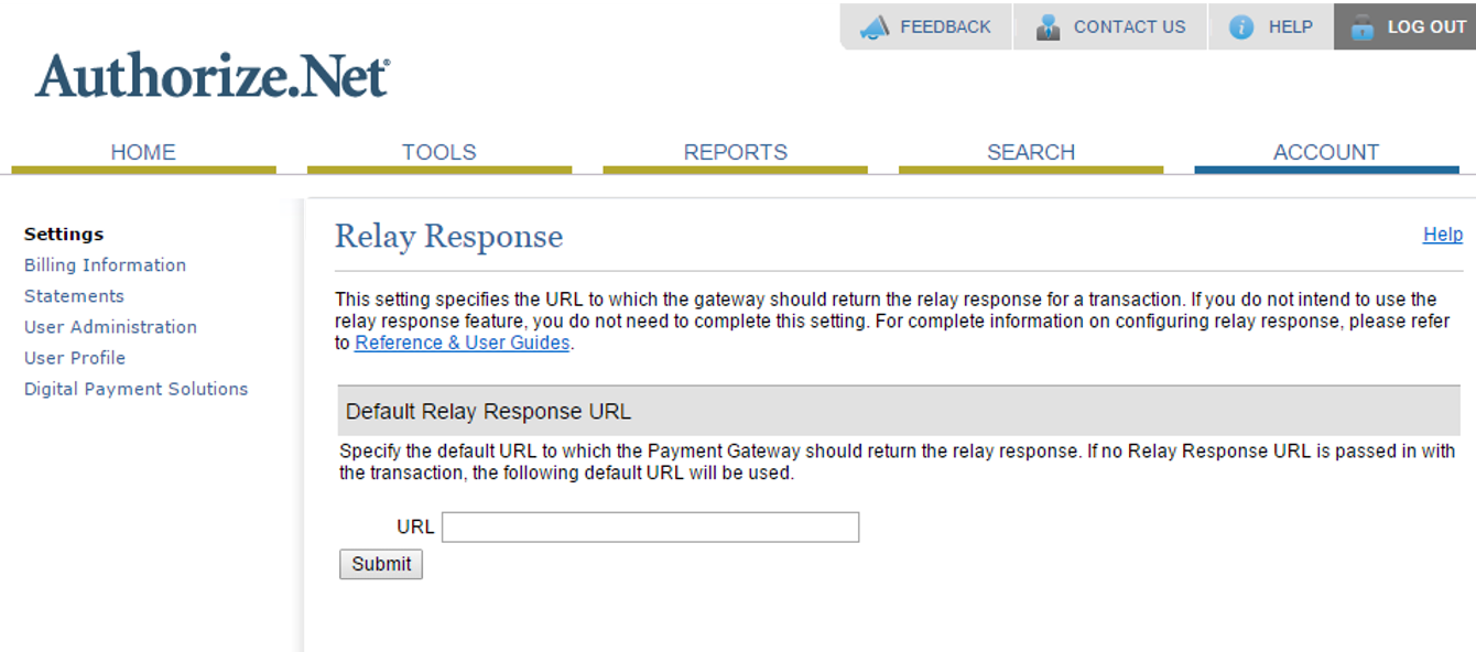 Shows the screen where you enter the relay response URL.