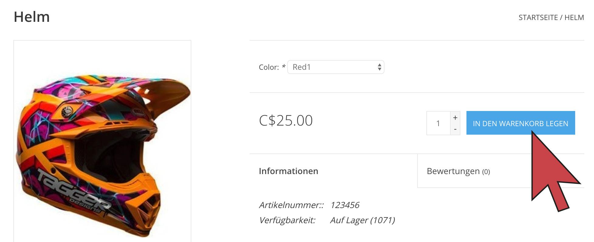 Zeigt einen Pfeil, der auf die Schaltfläche Zum Warenkorb hinzufügen auf der Produktseite weist.
