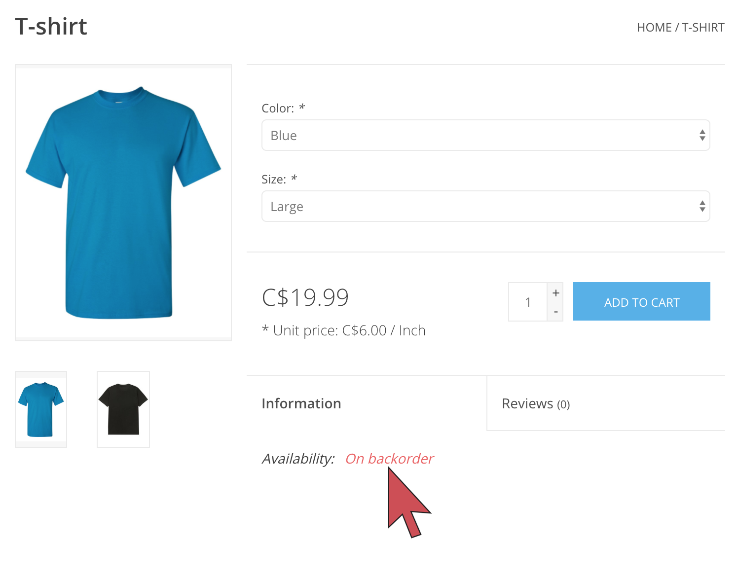 Shows an arrow pointing to the product availability that says 'On backorder'