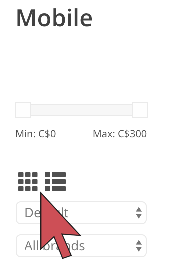 Shows an arrow hovering over the buttons in the store front using the Conform Plus theme..