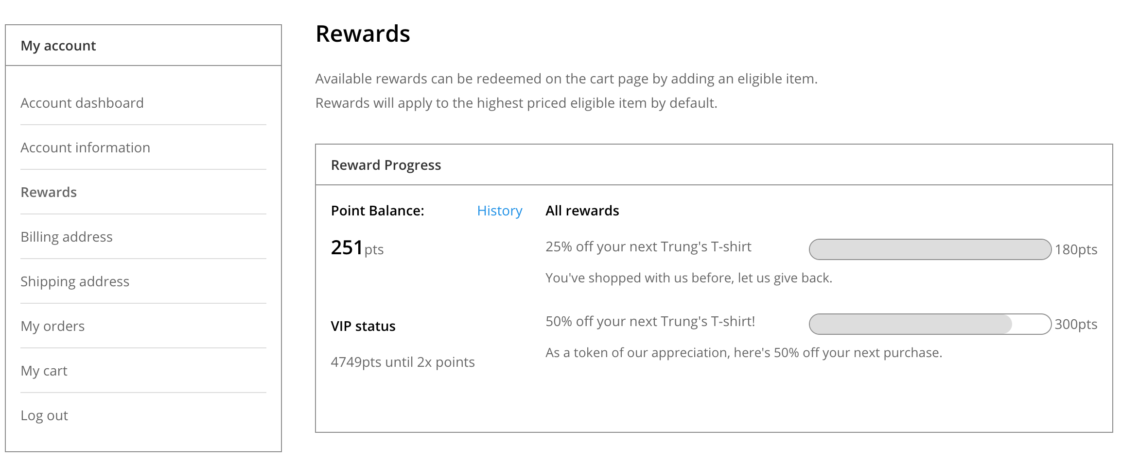 Shows the rewards page from the customer account screen. The customer has earned one reward and has almost earned a second one.