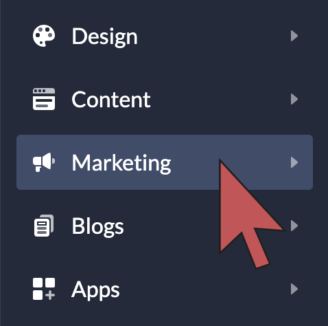 Shows an arrow hovering over 'Marketing' in the main menu of the eCom admin.