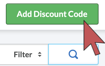 Shows an arrow hovering over the 'Add Discount code' button.