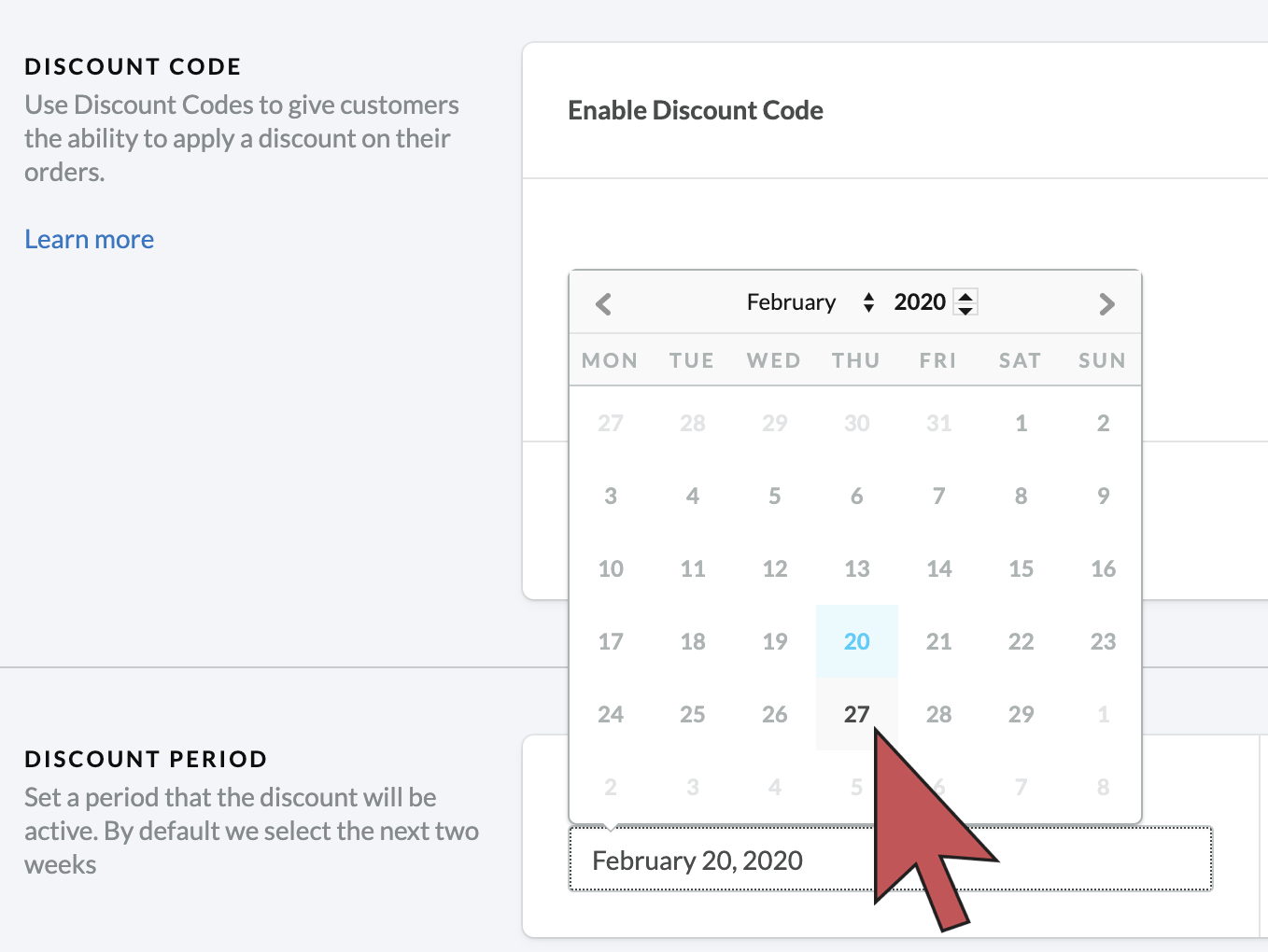 Shows an arrow hovering over a future date in a date picker.