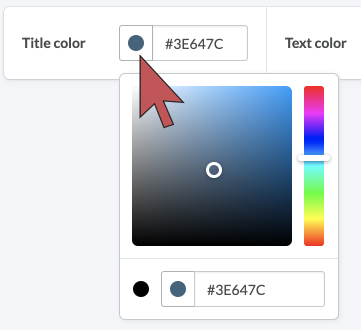 Image: Shows an arrow hovering over the color picker.